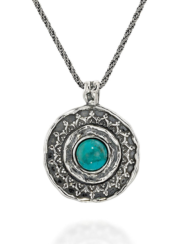 Large 925 Sterling Silver Round Turquoise Pendant Necklace, 20