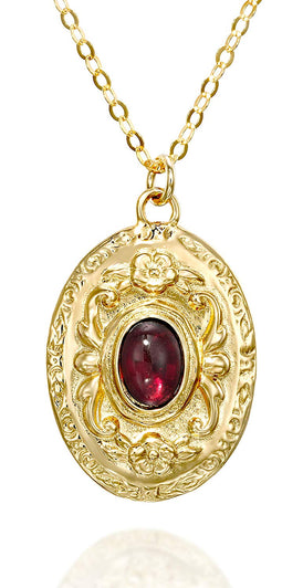 "Antique Style Gold Oval Garnet Pendant Necklace, 18"" + 4"" Extender"
