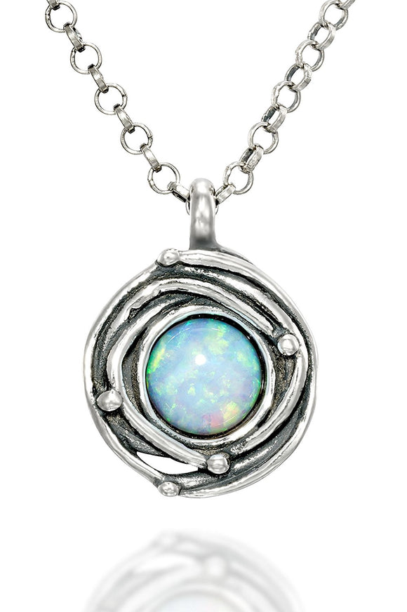 925 Sterling Silver Birds Nest White Opal Pendant Necklace, 18