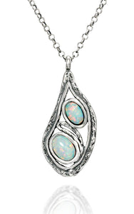 "Teardrop Silver White Opal Pendant Necklace, 18""+4"" Extender"