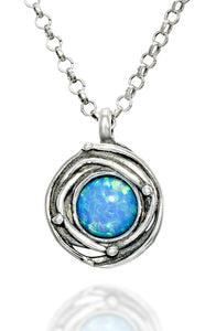 "925 Sterling Silver Birds Nest Blue Fire Opal Pendant Necklace, 18"" + 4"" Extender"