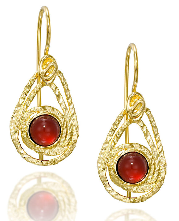 Teardrop Carnelian Gold Earrings with Decorative Design & Secure Backs