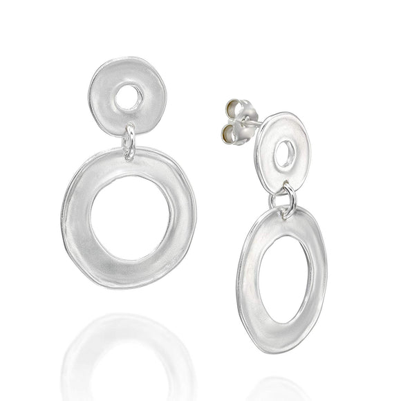 Stera Jewelry Matte Finish 925 Sterling Silver Graduated Circles Post Earrings with Butterfly Backs
