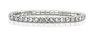 Made by Swarovski Round Crystals Rhodium Plated Stretch Tennis Bracelet, 7""