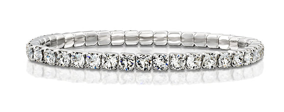 Made by Swarovski Round Crystals Rhodium Plated Stretch Tennis Bracelet, 7
