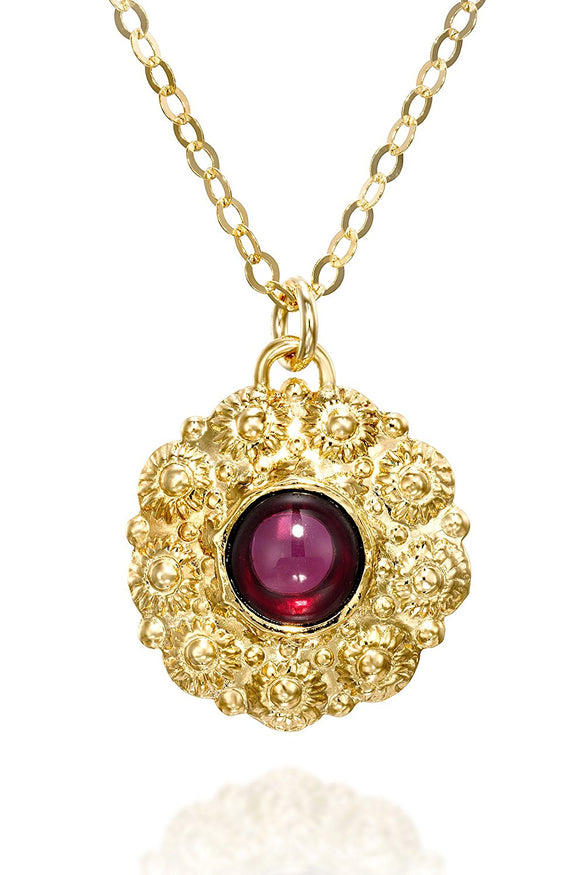 Women's Gold Garnet Gemstone Flower Pendant Necklace, 18