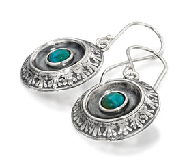 Antique Style Ornate Unique Design Round Dangle Earrings 925 Sterling Silver and Gemstone Women's Jewelry