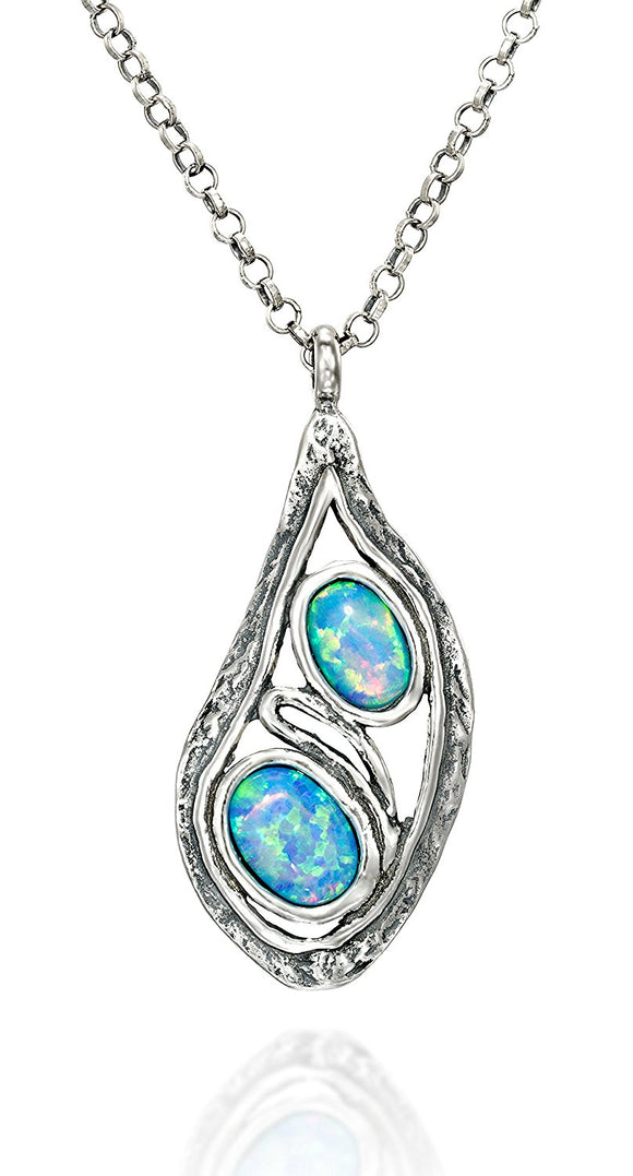 Teardrop Silver Blue Fire Opal Pendant Necklace, 18