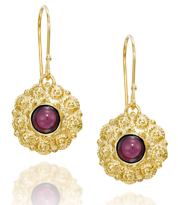 Women's Retro 14k Gold Plated Garnet Gemstone Flower Dangle Earrings