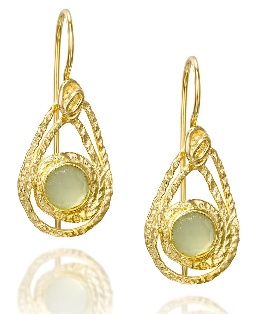 Teardrop Gold Earrings with Light Green Created Quartz & Secure Backs