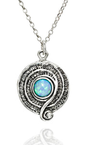 "Retro Created White Opal Swirl Pendant 925 Sterling Silver Necklace, 18"" + 4"" Extender"