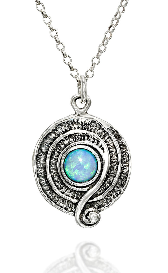 Retro Design Created White Opal Round Swirl Pendant 925 Sterling Silver Necklace, 18