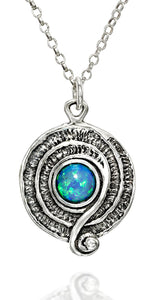 "Retro Design Created Blue Fire Opal Round Swirl Pendant 925 Sterling Silver Necklace, 18"" + 4"" Extender"