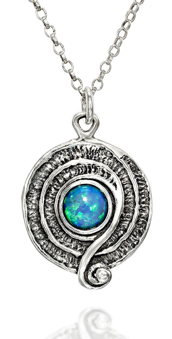 Retro Design Created Blue Fire Opal Round Swirl Pendant 925 Sterling Silver Necklace, 18