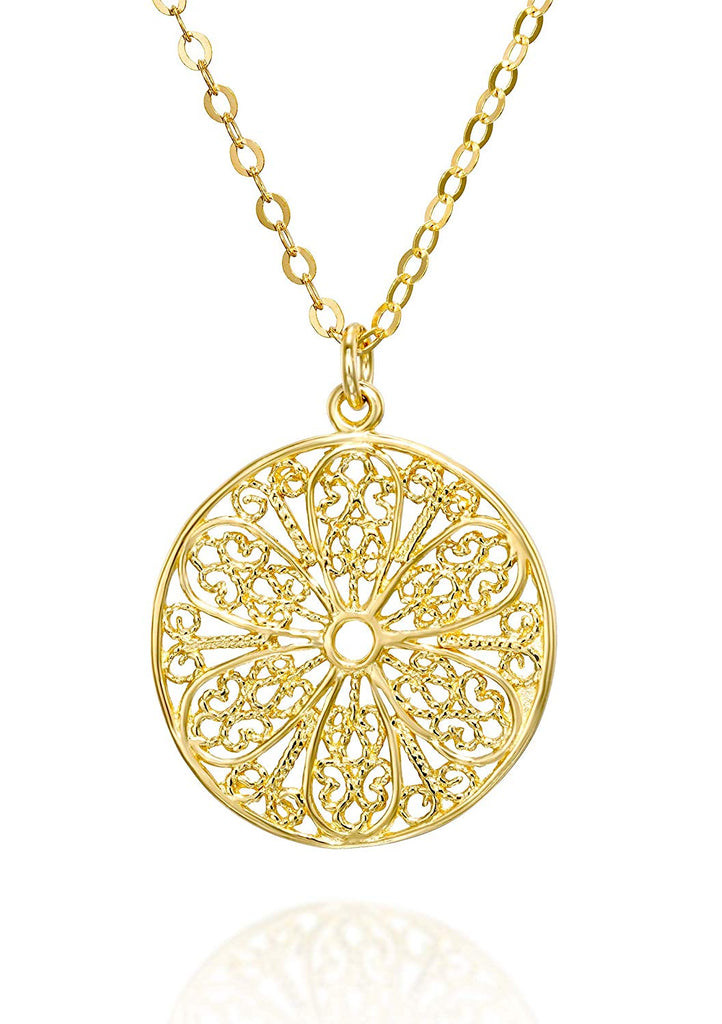 "Ornate Round Filigree Gold Pendant Necklace for Women, 18""+4"" Extender"