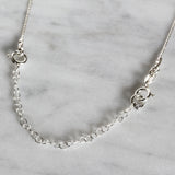 "3 Pcs 925 Sterling Silver 3"" Extension Chains with Spring Ring Clasp and Diamond Cut Rhodium Plated Bead"