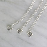 "3 Pcs 925 Sterling Silver 4"" Extension Chain with Spring Ring Clasp and Diamond Cut Rhodium Plated Bead"