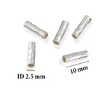 10 Pcs 925 Sterling Silver 3 by 10 mm Hammered Tubes Place Holders for DIY Necklaces or Bracelets