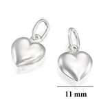 2 Pcs 925 Sterling Silver 11 mm Puffed Heart Charms for Your DIY Earrings Bracelets or Necklace Creations