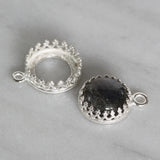 4 Pcs 925 Sterling Silver 10 mm Bezel Round Crown Setting with Loop Findings for Pendants Charms or Earrings