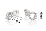 925 Sterling Silver 6 mm Crown Round Setting Post Earrings Blanks with Butterfly Backs, 4 Pcs (2 Pairs)