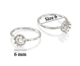 2 Pcs 925 Sterling Silver Size 6 Ring with 6 mm Crown Shaped Round Setting Blank for DIY Rings