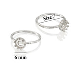 Stera Jewelry 2 Pcs 925 Sterling Silver Size 7 Ring with 6 mm Crown Shaped Round Setting Blank for DIY Rings