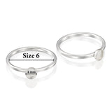 2 Pcs 925 Sterling Silver Size 6 Ring with 4 mm Round Bezel Setting Blank for DIY Rings
