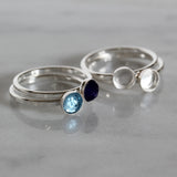 2 Pcs 925 Sterling Silver Size 7 Ring with 5 mm Round Bezel Setting Blank for DIY Rings