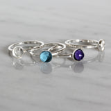 2 Pcs 925 Sterling Silver Size 7 Ring with 6 mm Round Bezel Setting Blank for DIY Rings