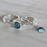 2 Pcs 925 Sterling Silver Size 7 Ring with 8 mm Round Bezel Setting Blank for DIY Rings