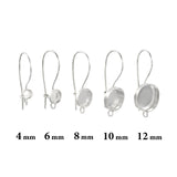 925 Sterling Silver 4 mm Round Bezel Kidney Ear Wire Mounting with Loop for DIY Earrings, 4 Pcs (2 Pairs)