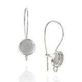 925 Sterling Silver 8 mm Round Bezel Kidney Ear Wire Mounting with Loop for DIY Earrings, 4 Pcs (2 Pairs)