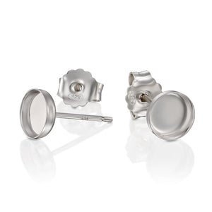 Round Setting 925 Sterling Silver 6 mm Bezel Cups Stud Earrings with Post & Butterfly Backs, 2 or 4 Pcs