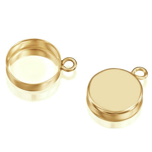 14k Gold-Filled Round Setting with 1 Loop 10 mm Bezel Cup Findings for Pendants Charms Earrings, 2 Pcs