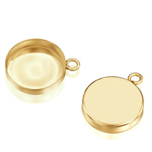 14k Gold-Filled Round Setting with 1 Loop 12 mm Bezel Cup Findings for Pendants Charms Earrings, 2 Pcs
