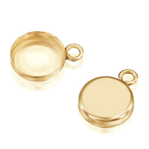 14k Gold-Filled Round Setting with 1 Loop 8 mm Bezel Cup Findings for Pendants Charms Earrings, 2 Pcs