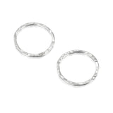 925 Sterling Silver 12 mm Hand Hammered Hoops Rings or Loops Jewelry Findings for Your DIY Earrings Necklaces & Bracelets Creations, 6 Pcs