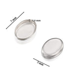 Oval Setting 925 Sterling Silver 5 x 7 mm Bezel Cup Findings for Rings Pendants Charms Earrings, 6 or 12 Pcs