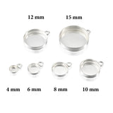 925 Sterling Silver Round Setting with 1 Loop 10 mm Bezel Cup Findings for Pendants Charms Earrings, 4 Pcs