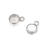 Round Setting with 1 Loop 925 Sterling Silver Bezel Cup Findings for Pendants Charms Earrings Choice of 4 6 or 8 mm, 6 Pcs