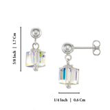 Gold or Silver Swarovski Crystal Cube Stud Earrings For Women Teens or Girls