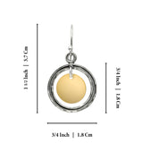 Women's Unique Two Tone Silver & Gold Circle & Disc Dangle Earrings