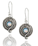 Round Swirl 925 Sterling Silver Created White Opal Dangle Earrings with Decorative Spiral Design