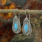 Teardrop Earrings 925 Sterling Silver with Marquise Created Blue Fire Opals and Wire & Hook Secure Backs