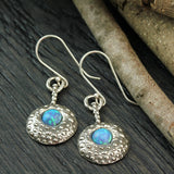 Stera Jewelry 925 Sterling Silver Ornate Door Knocker Created Blue Fire Opal Earrings