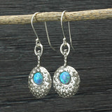 Orante Pendulum Dangle Earrings 925 Sterling Silver with Created Opal