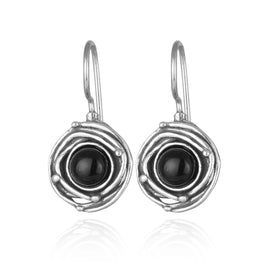 Vintage Style Black Onyx Earrings 925 Sterling Silver Onyx Earrings with Swirl Design and Secure Backs