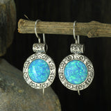 Antique Look 925 Sterling Silver Created Blue Fire Opal Earrings with Ornate Floral Design & Secure Backs