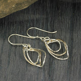 Women's Silver & Gold Handmade Graduated Twisted Hoops Dangle Earrings
